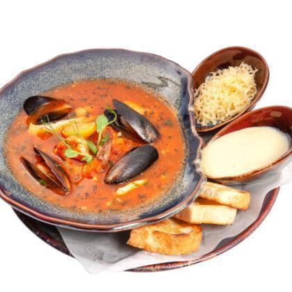 Итальянский томатный суп с морепродуктами  Italian tomato soup with seafood