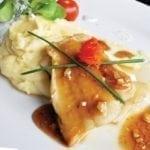 Палтус с пюре из сельдерея и кунжутным соусом | Halibut with celery puree and sesame sauce