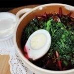 Свекольник с говядиной, яйцом и садовыми овощами   Cold Beetroot soup with Beef and Garden Vegetables