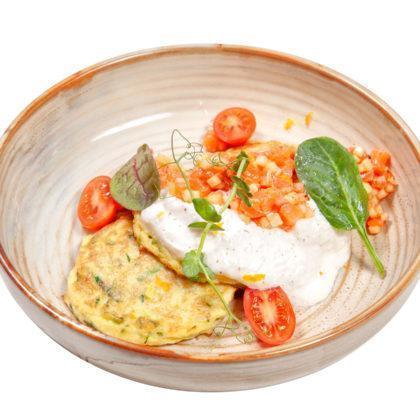 NEW Оладьи из цукини с тартаром из лосося | Zucchini fritters with salmon tartar